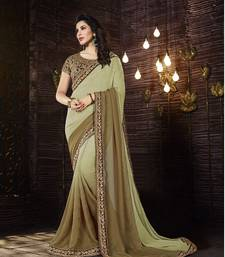 Buy mehendi embroidered georgette saree with blouse georgette-saree online