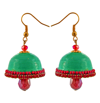 Green teracotta and dokra jhumkas