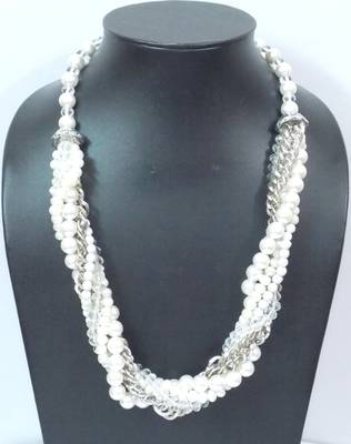 Multistrand Pearl And Silver Necklace