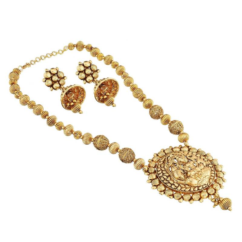 Buy Golden Ball Chain Temple Necklace Set Artificial Jewellery Online