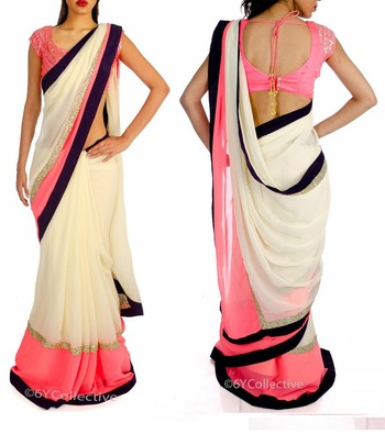 pink embroidred georgette saree with blouse