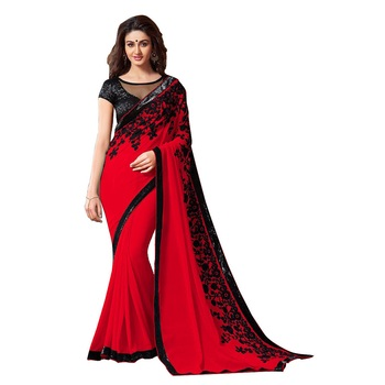 red embroidred chiffon saree with blouse