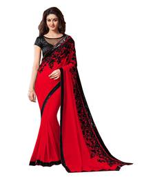 Buy red embroidred chiffon saree with blouse party-wear-saree online
