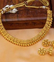 Buy Gorgeous gold plated plain necklace set necklace-set online