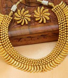 Buy Gorgeous designer gold plated  necklace set south-indian-jewellery online