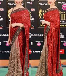 Buy red and cream embroidred georgette saree with blouse deepika-padukone-saree online