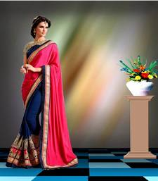 Buy dark rani pink embroidered georgette saree with blouse georgette-saree online