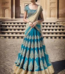 Buy Blue embroidered silk unstitched lehenga choli black-friday-deal-sale online