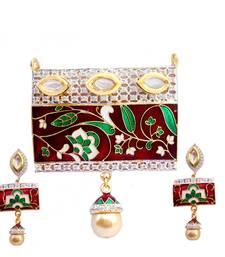 Buy Buy Exquisite Meenakari & AD Pendant Set Pendant online