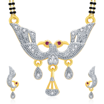 Flattering Peacock Gold And Rhodium Plated Ruby Mangalasutra Set For Women