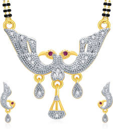 Buy Flattering Peacock Gold And Rhodium Plated Ruby Mangalasutra Set For Women mangalsutra online