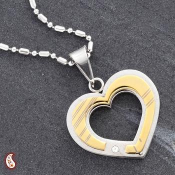 Gold Enameled Heart Pendant