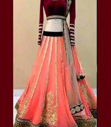 Buy Peach embroiderd net unstitched lehenga choli lehenga-choli online