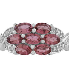 Buy Sterling Silver Pink Tourmaline and White Topaz studded Ring gemstone-ring online