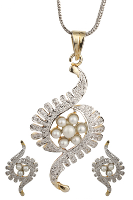 PEACE Collection White Pearls Silver Pendant Set For Women