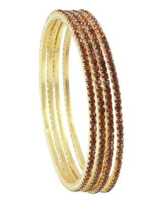 Brown Polki Stones Bangles Jewellery for Women - Orniza