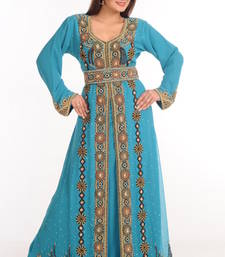 Buy Blue georgette embroidered abaya abaya online