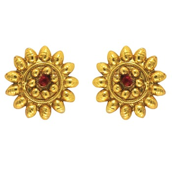 Traditional Ethnic Red Sun Flower Gold Plated Dangler Earrings with Crystals for Women
