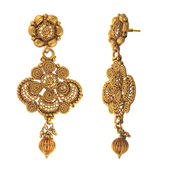 Traditional Ethnic Floral Spiral Mesh Gold Plated Dangler Earrings for Women