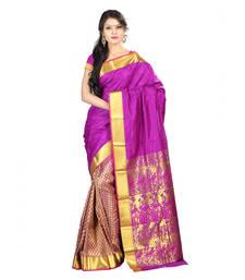 Buy Magenta woven Art-Silk saree With Blouse half-saree online