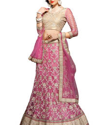 Buy Pink net embroidered unstitched lehenga choli net-lehenga online