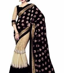 Buy black plain jacquard saree With Blouse jacquard-saree online