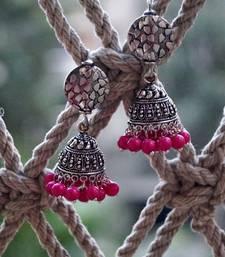 Buy ethnic pink silver jhumka jhumka online
