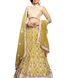 Buy Yellow net embroidered  unstitched lehenga choli net-lehenga online