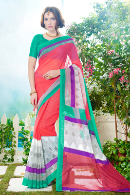 pink printed super net saree With Blouse
