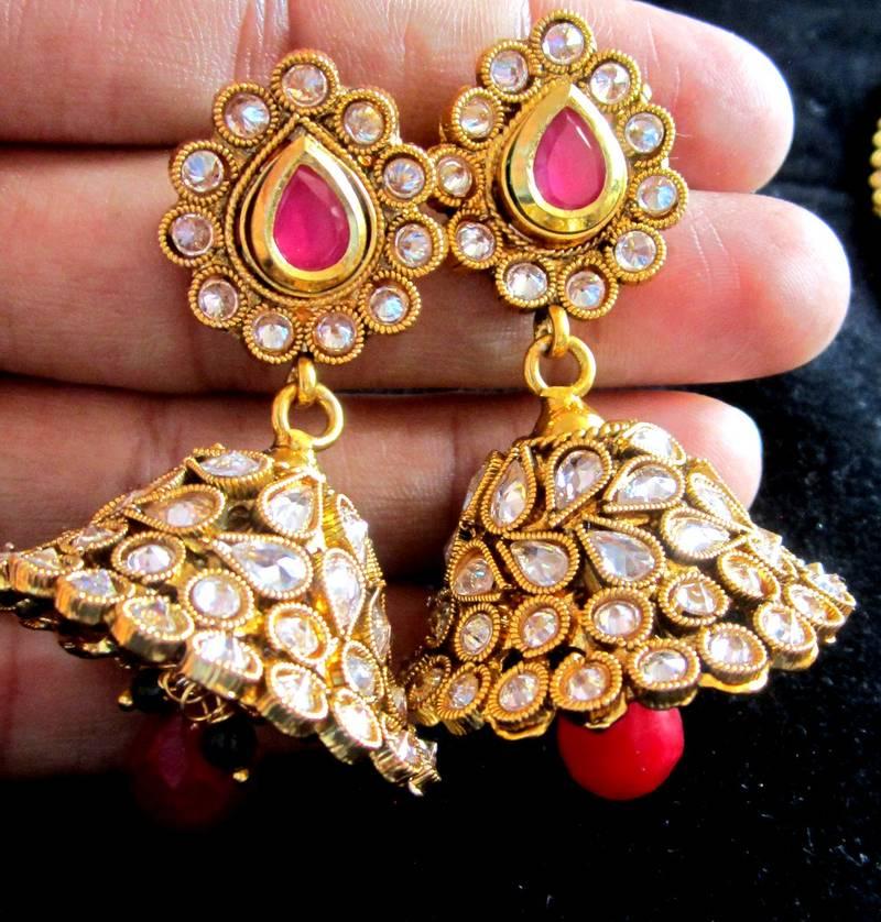 Buy NECKLACE Jhumka EARRING TIKA jewellery SET RUBY POLKI GOLD ...