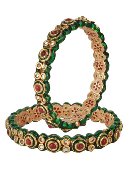 PURE Collection Red Colour Gold Plated Kundan Bangles For Women