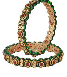 Buy PURE Collection Red Colour Gold Plated Kundan Bangles For Women bangles-and-bracelet online
