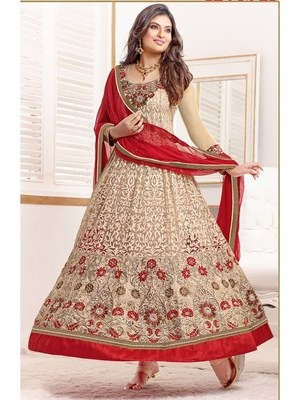 brown embroidered semi-stitched anarkali salwar suits