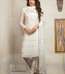 Buy White embroidered cotton unstitched salwar with dupatta straight-suit online