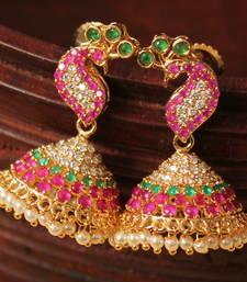 Buy Gorgeous designer pink-green small peacock jhumkka south-indian-jewellery online
