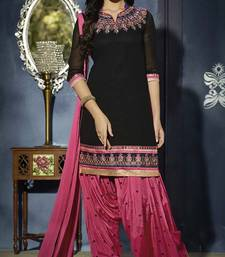 Buy Black embroidered georgette unstitched salwar with dupatta punjabi-suit online