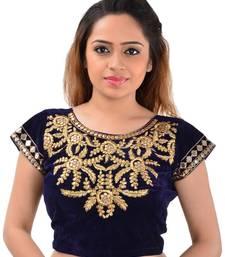 Buy Blue velvet mirror work unstitched blouse blouse-neck-design online