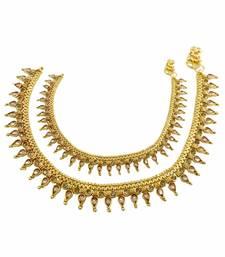 Buy Golden Beige Polki Stones Payal Anklet Jewellery for Women - Orniza anklet online
