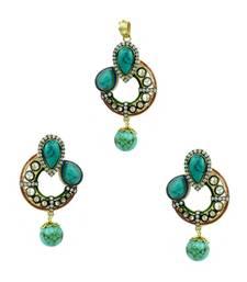 Buy Turquoise Blue Antique Victorian Pendant Set Jewellery for Women - Orniza Pendant online