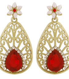 Buy Pear Flower Filigree Antique Rhodium Pearl Red Earring for Women stud online