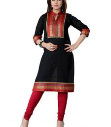 Buy Black cotton plain kurti cotton-kurtis online