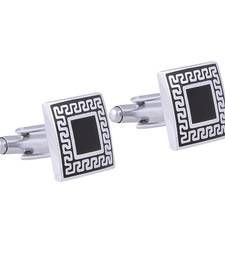Buy Designer Checks Square Black Silver Enamel Rhodium Plated High Quality Brass Cufflink Pair for Men cufflink online