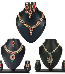 Buy Gold stone Diamond Jewellery Combo jewellery-combo online