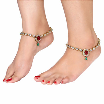 GOLDEN MULTICOLOR ANKLETS