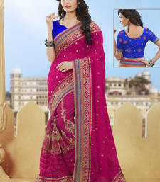 Buy rani pink hand woven net saree With Blouse heavy-work-saree online