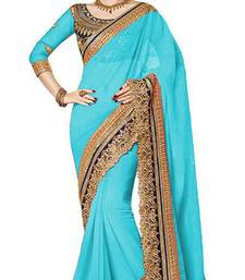Buy sky blue resham embroidery georgette saree with blouse georgette-saree online