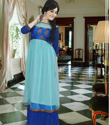 Buy Blue georgette embroidered party wear gown party-wear-gown online