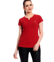 Buy Red printed Cotton tops top online