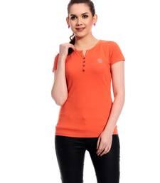 Buy Orange printed Cotton tops top online
