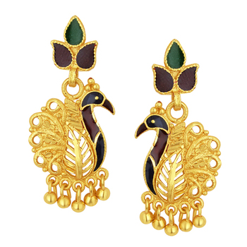 Sublime Peacock Gold Plated Earring For Women